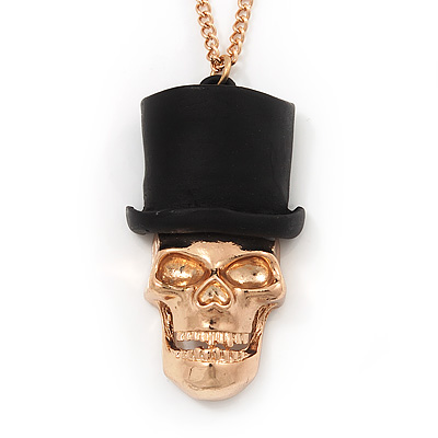 Gold Plated 'Skull In The Hat' Pendant Necklace - 60cm Length (6cm extension) - main view