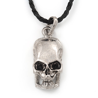Silver Plated 'Predator Skull' Pendant On Black Leather Style Cord Necklace - 40cm Length & 4cm Extension