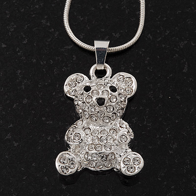 Cute Diamante 'Teddy Bear' Pendant Necklace In Rhodium Plated Metal - 40cm Length & 4cm Extension
