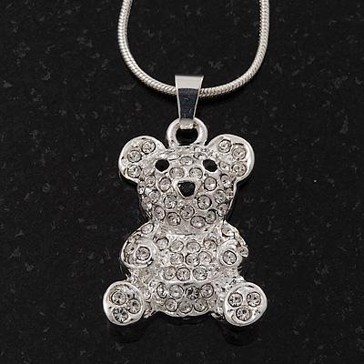 Cute Diamante 'Teddy Bear' Pendant Necklace In Rhodium Plated Metal - 40cm Length & 4cm Extension