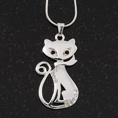 Rhodium Plated Diamante 'Cat' Pendant Necklace - 40cm Length & 4cm Extension - main view