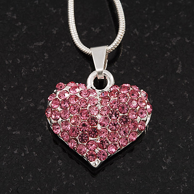 Small Pink Crystal Puffed 'Heart' Pendant Necklace In Rhodium Plated Metal - 40cm Length & 4cm Extension