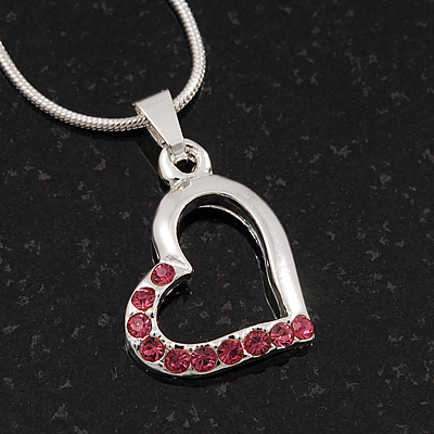 Small Pink Crystal Open Heart Pendant Necklace In Rhodium Plated Metal - 40cm Length & 4cm Extension - main view