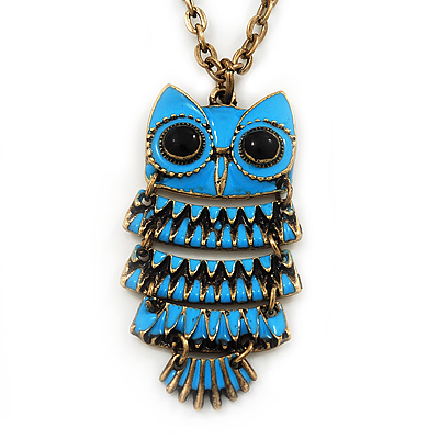 Vintage Blue Enamel 'Owl' Pendant Necklace In Burn Gold Metal - 44cm Length