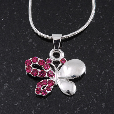 Small Magenta Crystal 'Butterfly' Pendant Necklace In Silver Plating - 40cm Length