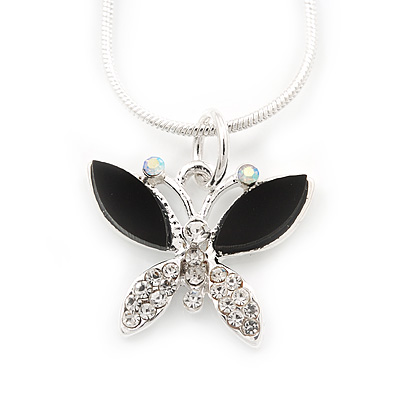 Tiny Crystal 'Butterfly' Pendant Necklace In Silver Plating - 40cm Length/ 4cm Extension