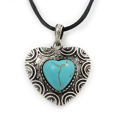 Burn Silver Turquoise Stone 'Heart' Pendant On Black Cotton Cord Necklace - 40cm Length/ 7cm Extension