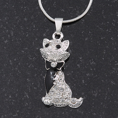 Cute Clear Diamante 'Cat' Pendant Necklace In Silver Plating - 40cm Length - main view