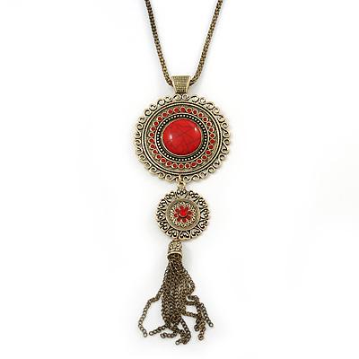 Long Red Tassel Pendant Necklace In Burn Gold Finish - 70cm Length
