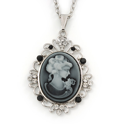 Long Crystal Grey Oval 'Cameo' Pendant Necklace In Silver Plating - 72cm Length/ 9cm Extension