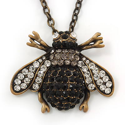 Long Vintage Diamante 'Bee' Pendant Necklace In Bronze Finish - 76cm Length/ 3cm Extension