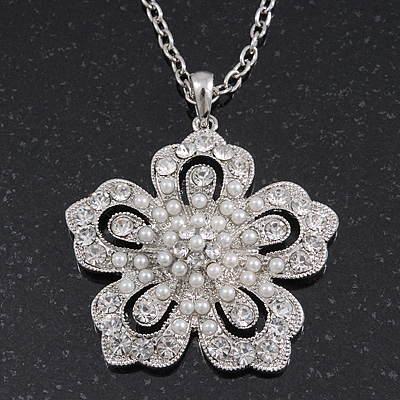 Long Crystal Simulated Pearl 'Flower' Pendant In Rhodium Plating - 74cm Length/ 10cm Extension