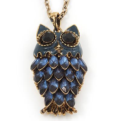 Long Blue Diamante Cute Owl Pendant In Antique Gold Plating - 70cm Length/ 10cm Extension - main view