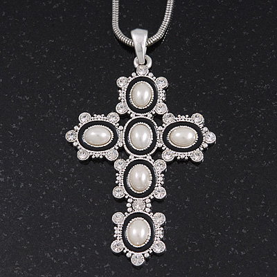 Simulated Pearl and Swarovski crystal 'Vaticana' Statement Cross Pendant and Chain (Silver Plating) - 36cm Length/ 8cm Extension