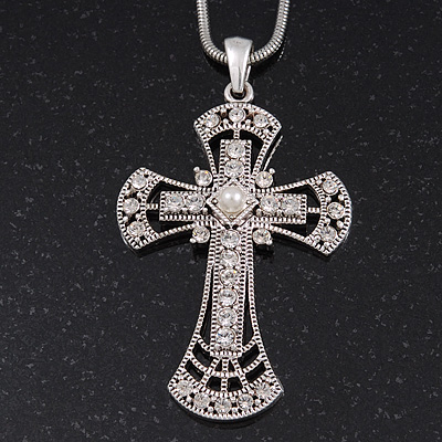 Caviar Simulated Pearl and Swarovski Crystal 'Crux Invicta' Statement Cross Pendant and Chain (Silver Plating) - 36cm Length/ 8cm Extension
