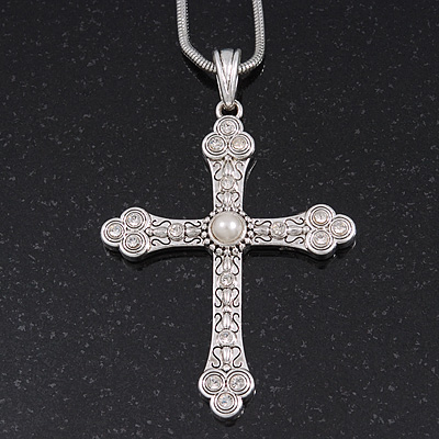 Simulated Pearl and Swarovski Crystal Vintage Style 'Fleur de Lis' Cross Pendant Necklace In Silver Plating - 36cm Length/ 8cm Extension