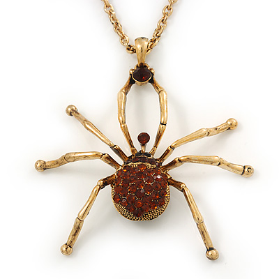 Shimmering Amber Coloured Crystal Spider Pendant Necklace In Antique Gold Tone Metal - 60cm Length - main view