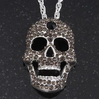 Long Dim Grey Swarovski Crystal 'Skull' Pendant In Rhodium Plating - 74cm Length/ 10cm Extension