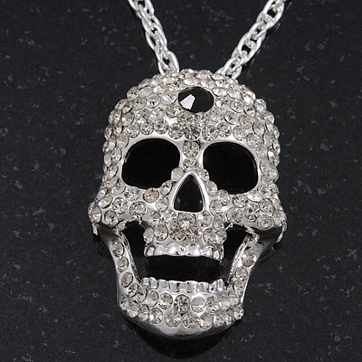 Long Clear Swarovski Crystal 'Skull' Pendant In Rhodium Plating - 74cm Length/ 10cm Extension
