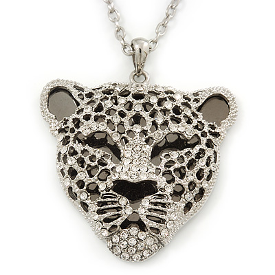 Exotic Swarovski Crystal 'Tiger' Pendant In Rhodium Plating - 74cm Length/ 9cm Extension