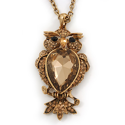 Long Champagne CZ 'Owl' Pendant Necklace In Gold Plating - 72cm Length/ 7cm Extension - main view