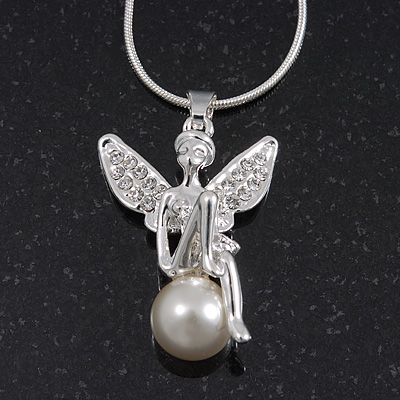 Diamante/ Simulated Pearl 'Fairy' Pendant Necklace In Rhodium Plated Metal - 40cm/ 5cm Extension