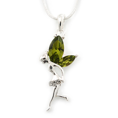 Delicate Peridot Coloured CZ 'Fairy' Pendant Necklace In Rhodium Plating - 42cm Length/ 5cm Extension - August Birth Stone
