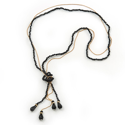 Long Black Faceted Glass Bead & Gold Beaded Chain Tassel Necklace - 76cm Length/ 12cm Tassel