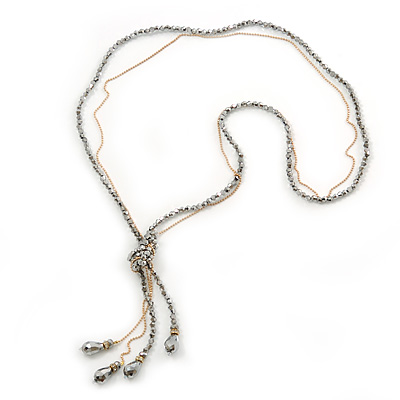 Long Metallic Silver Faceted Glass Bead & Gold Beaded Chain Tassel Necklace - 76cm Length/ 12cm Tassel