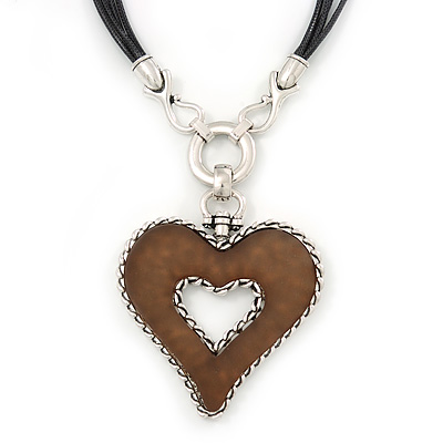 Large Resin Open Heart Pendant On Black Cords In Rhodium Plating - 72cm Length/ 8cm Length