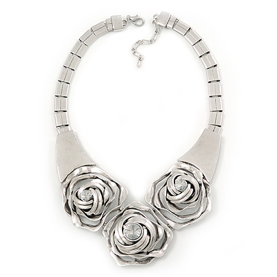 Chunky Triple Rose Ethnic Necklace In Rhodium Plating - 42cm Length/ 7cm Extender