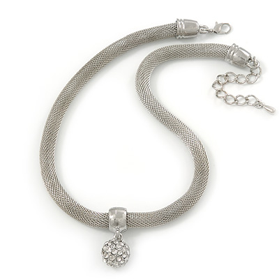Silver Tone Mesh Necklace With Crystal Ball - 38cm Length/ 6cm Extension