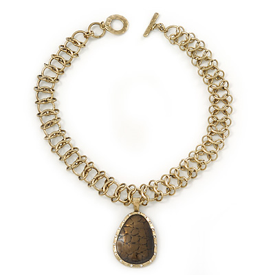 Vintage 'Cracked Effect' Teardrop Pendant Necklace With T-Bar Closure In Burn Gold Metal - 42cm Length