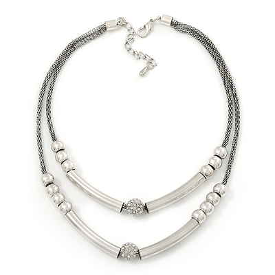 Two Row Bead & Tunnel On Mesh Chain Necklace In Burn Silver Metal - 44cm Length/ 6cm Extension - main view