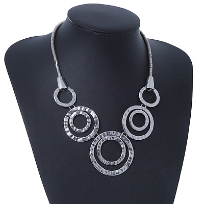 Rhodium Plated Hammered 'Circles' Ethnic Necklace - 38cm Length/ 7cm Extender