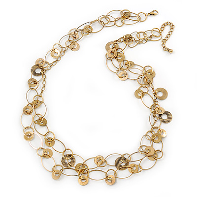Long 2 Strand Oval Link, Textured Coin Necklace In Gold Tone Metal - 80cm L/ 6cm Ext