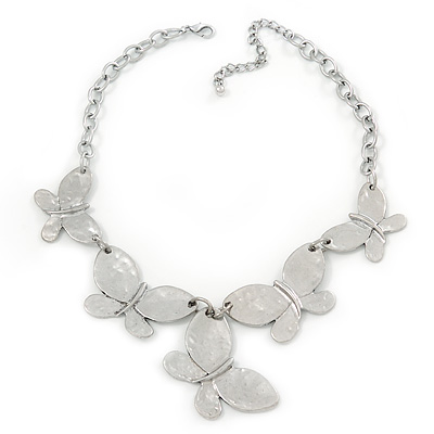 Silver Plated Hammered Butterfly Necklace - 44cm Length/ 6cm Extender