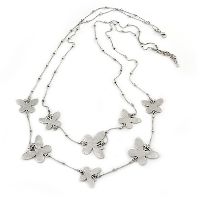 Long 2-Strand, Layered Butterfly Necklace In Silver Tone - 100cm L/ 5cm Ext - main view