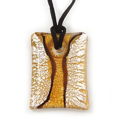 Glittering Gold/Silver Square Glass Pendant On Black Suede Cord - 42cm Length/ 7cm Extender - main view