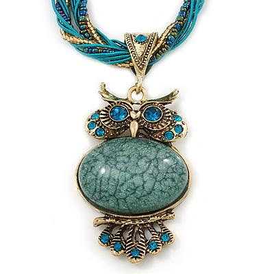 Vintage Bead 'Green Grey Owl' Pendant Necklace In Antique Gold Metal - 38cm Length/ 5cm Extender