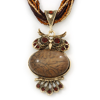 Vintage Bead 'Brown Owl' Pendant Necklace In Antique Gold Metal - 38cm Length/ 5cm Extender - main view