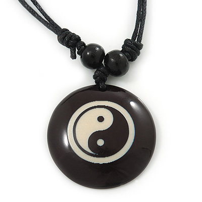 Unisex Black/ White Resin Medallion 'Yin Yang' Cotton Cord Pendant - Adjustable - main view