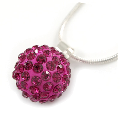 Magenta Crystal Ball Pendant On Silver Tone Snake Style Chain - 40cm Length/ 4cm Extention