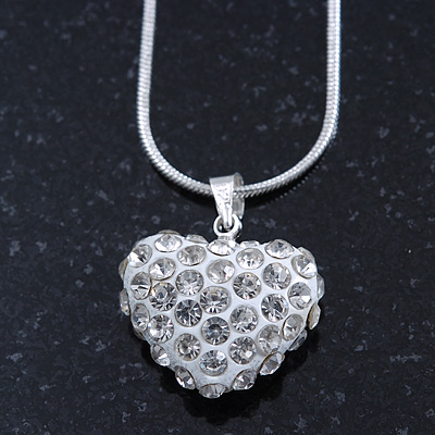 Clear Crystal 3D Heart Pendant On Silver Tone Snake Style Chain - 40cm Length/ 4cm Extention - main view