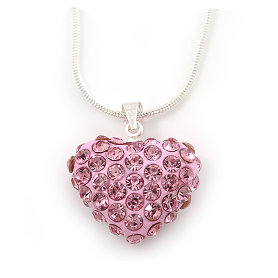 Baby Pink Crystal 3D Heart Pendant On Silver Tone Snake Style Chain - 40cm Length/ 4cm Extention - main view