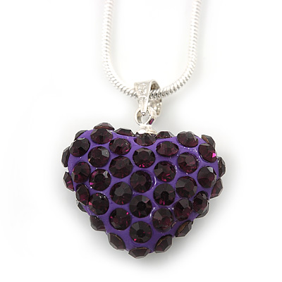 Deep Purple Crystal 3D Heart Pendant On Silver Tone Snake Style Chain - 40cm Length/ 4cm Extention - main view
