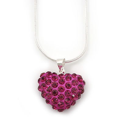 Magenta Crystal 3D Heart Pendant On Silver Tone Snake Style Chain - 40cm Length/ 4cm Extention