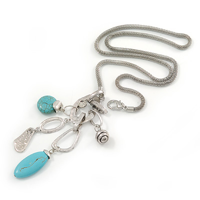 Long Mesh Chain with Turquoise Bead, Metal Ring Tassel Pendant In Silver Tone - 70cm L/ 12cm Tassel