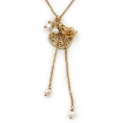 Vintage Inspired Delicate Heart, Flower, Freshwater Pearl Tassel Necklace In Gold Plating - 38cm Length/ 4cm Extension - main view