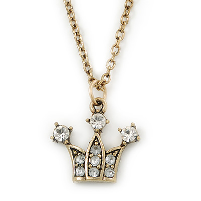 Small Crystal Crown Pendant With 38cm L/ 7cm Ext Gold Tone Chain